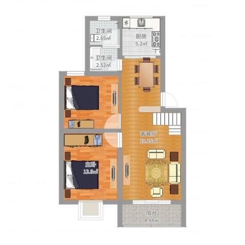 龚华新村1室2厅2卫1厨86.00㎡户型图