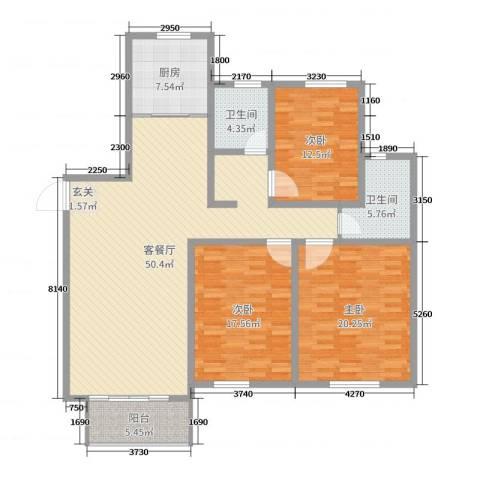 金色维也纳3室2厅2卫1厨155.00㎡户型图