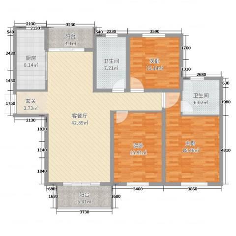 金色维也纳3室2厅2卫1厨151.00㎡户型图