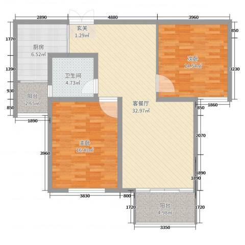 金色维也纳2室2厅1卫1厨103.00㎡户型图