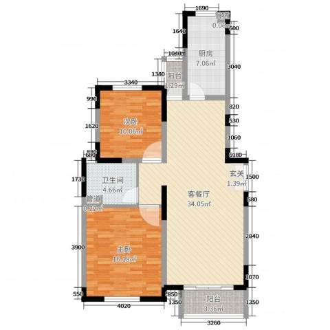 金色维也纳2室2厅1卫1厨96.00㎡户型图