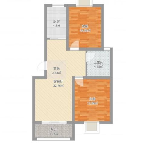 御水天成2室2厅1卫1厨74.00㎡户型图