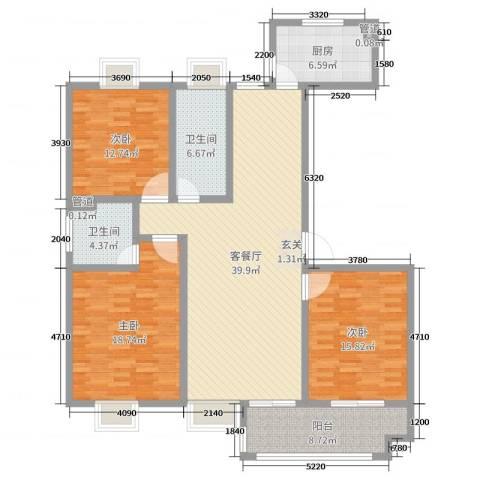 昌和时代3室2厅2卫1厨143.00㎡户型图