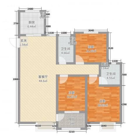 昌和时代3室2厅2卫1厨131.00㎡户型图