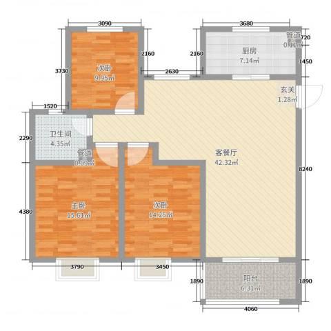 昌和时代3室2厅1卫1厨125.00㎡户型图