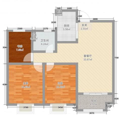 昌和时代3室2厅1卫1厨106.00㎡户型图