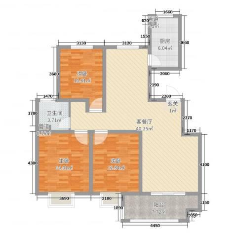 昌和时代3室2厅1卫1厨120.00㎡户型图