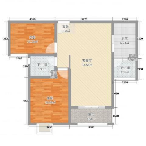 昌和时代2室2厅2卫1厨101.00㎡户型图