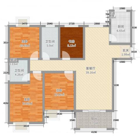 昌和时代4室2厅2卫1厨138.00㎡户型图