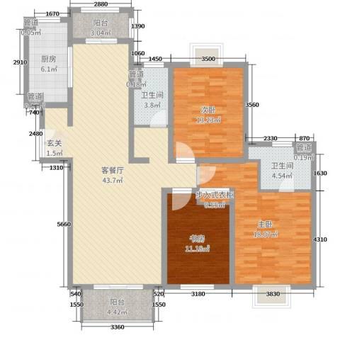 爱法山水国际3室2厅2卫1厨137.00㎡户型图
