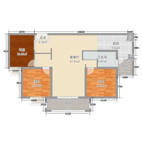 爱法山水国际3室2厅1卫0厨120.00㎡户型图