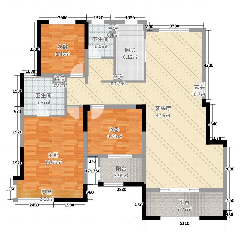 世茂悦海144.00㎡Q9户型3室3厅2卫1厨