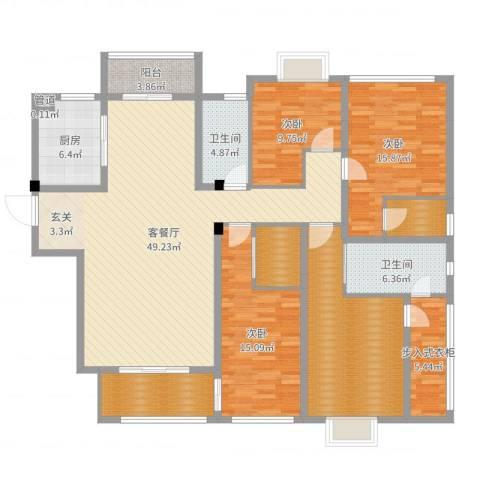 华府豪庭二期3室2厅2卫1厨184.00㎡户型图