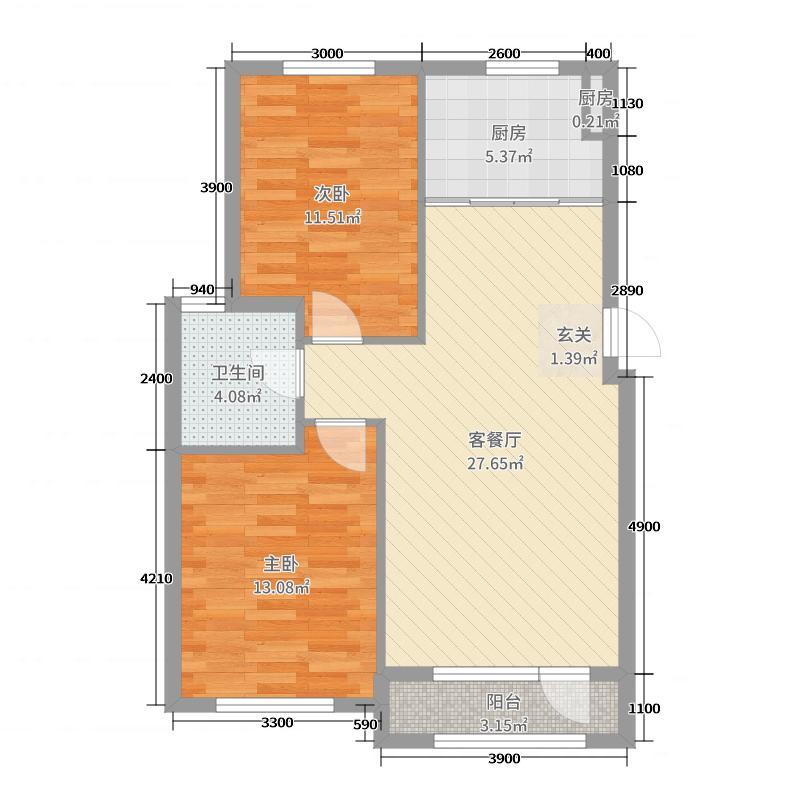 中拥塞纳城83.59㎡2号楼F户型2室2厅1卫1厨