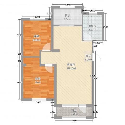 鸿玮澜山二期 和院2室2厅1卫1厨84.00㎡户型图