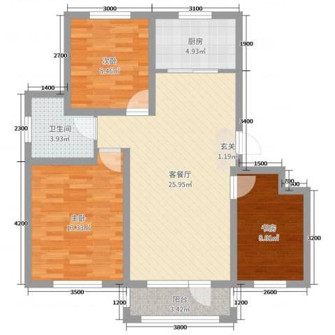 鸿玮澜山二期 和院3室2厅1卫1厨93.00㎡户型图