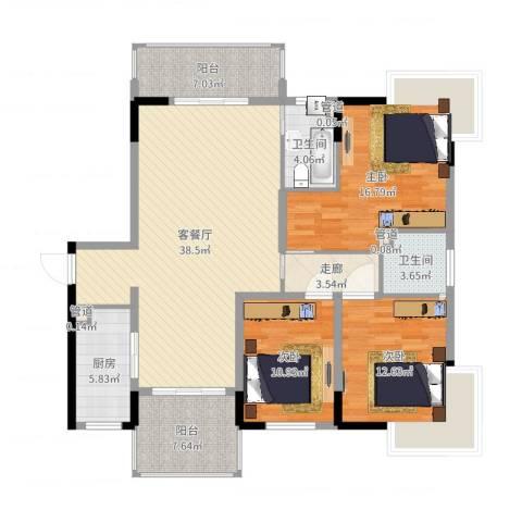 春江花月3室2厅2卫1厨139.00㎡户型图