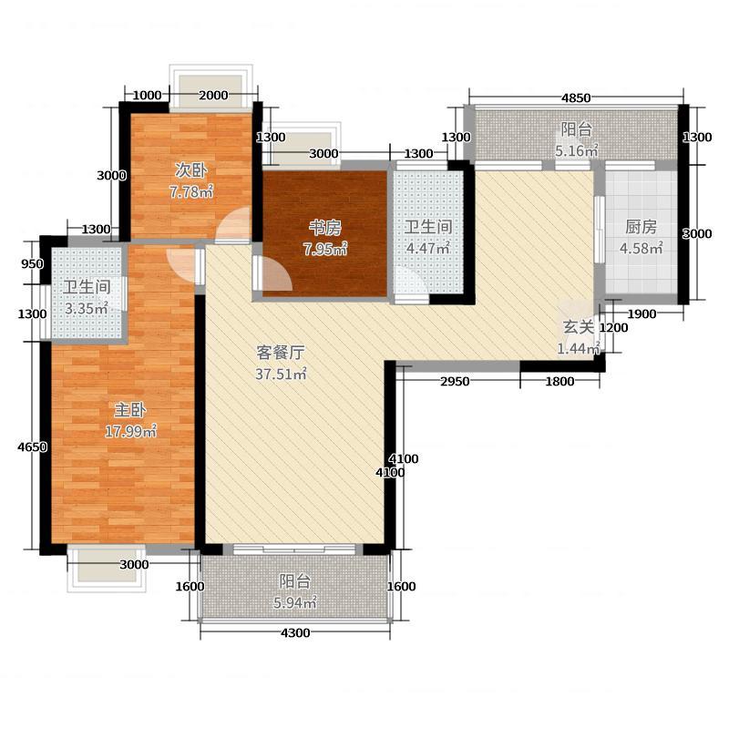 中航白沙湾127.24㎡10#奇数层A、B户型3室3厅1卫1厨