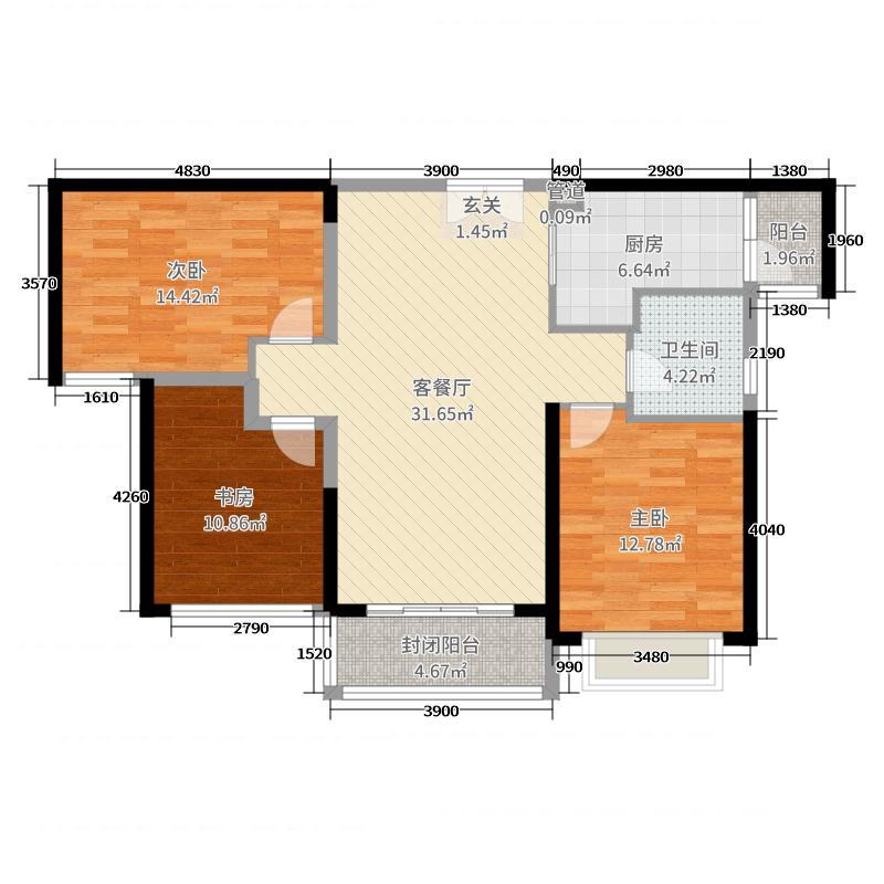 颐和金凤花园109.22㎡D3-2户型3室3厅1卫1厨