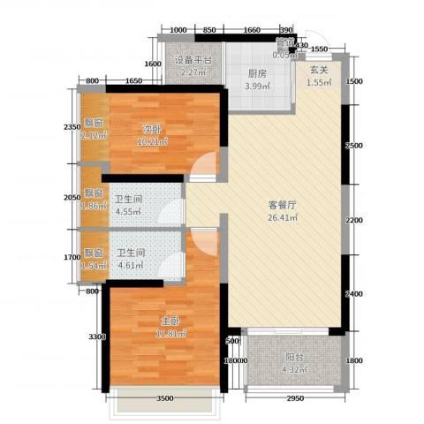 豪逸御华庭2室2厅2卫1厨82.00㎡户型图