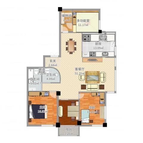 外滩花园2室2厅2卫1厨164.00㎡户型图
