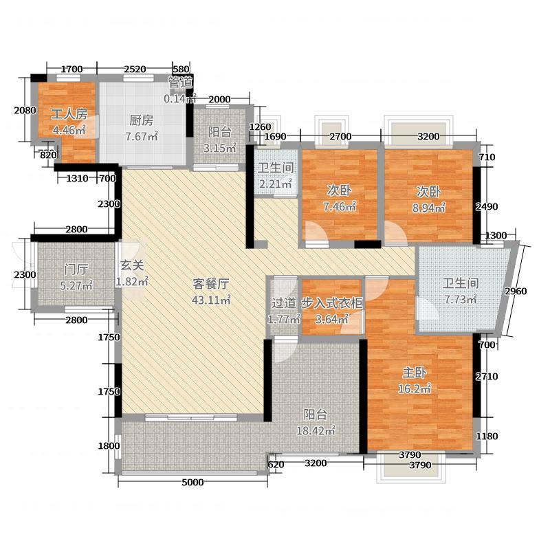 丰泰观山碧水・凌峰163.00㎡1栋1单元02/2单元01户型4室4厅2卫1厨