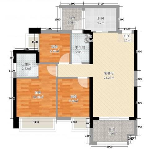 豪逸御华庭3室2厅2卫1厨88.00㎡户型图