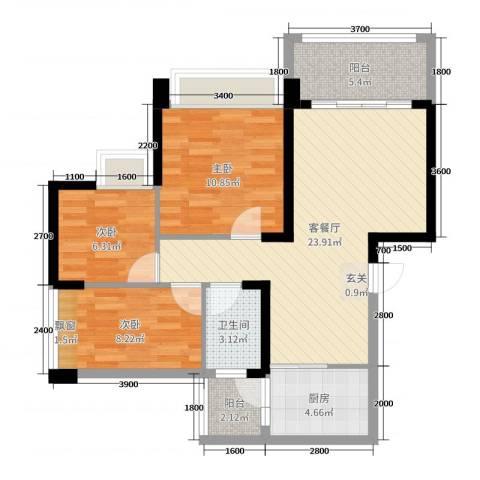 豪逸御华庭3室2厅1卫1厨88.00㎡户型图