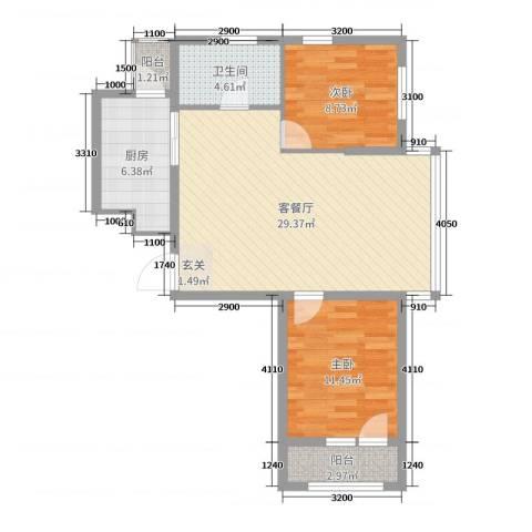 坤博幸福城2室2厅1卫1厨81.00㎡户型图