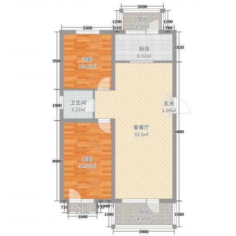 坤博幸福城2室2厅1卫1厨83.00㎡户型图