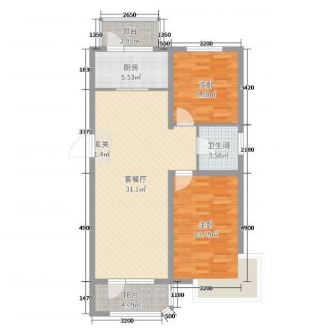 坤博幸福城2室2厅1卫1厨84.00㎡户型图