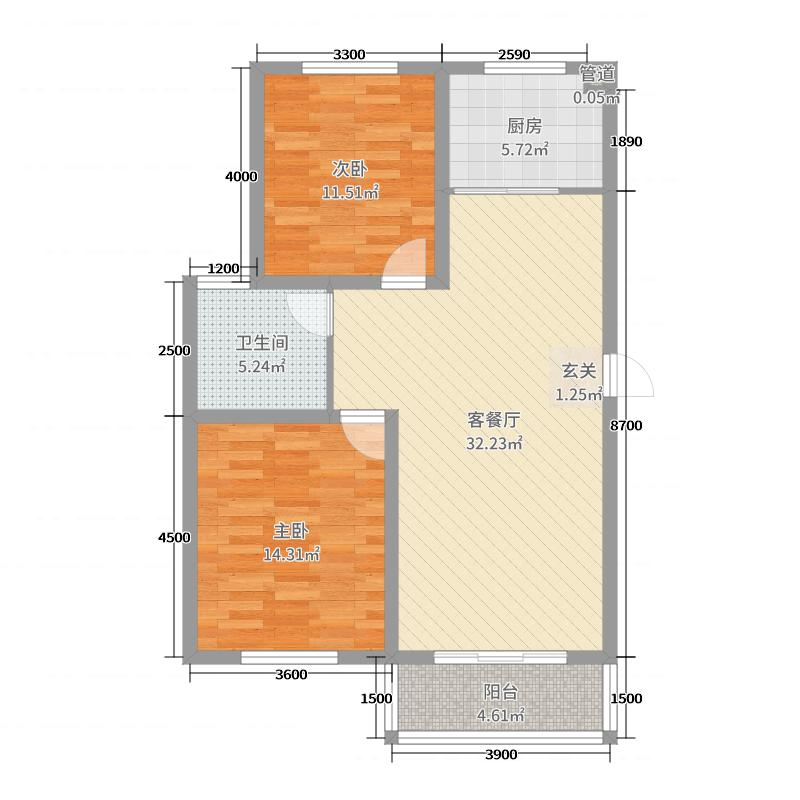 浦东国际花园95.00㎡S9户型2室2厅1卫1厨