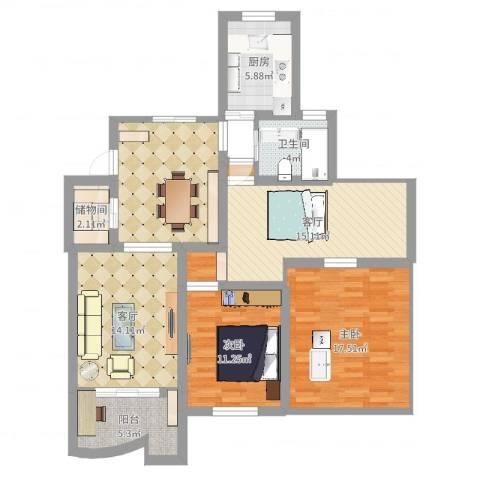 贝越佳园2室2厅1卫1厨111.00㎡户型图