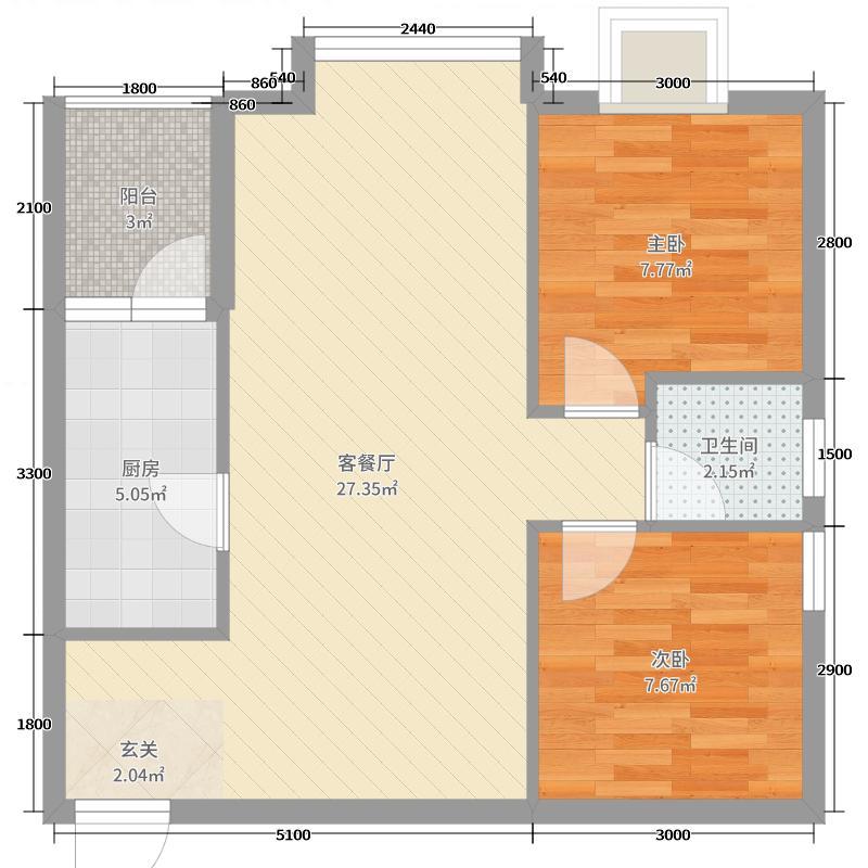 大唐果70.83㎡二期1号楼二、三单元B3户型2室2厅1卫1厨