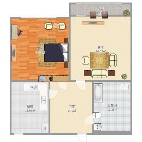 济南交通医院宿舍1室1厅1卫1厨119.00㎡户型图
