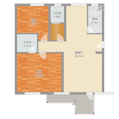 金边瑞香苑2室2厅2卫1厨120.00㎡户型图