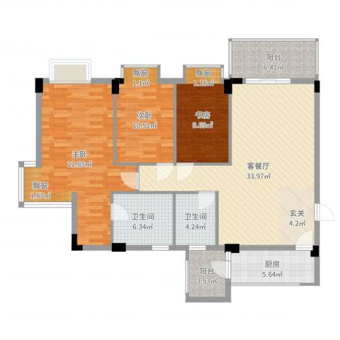 碧海名苑3室2厅2卫1厨129.00㎡户型图
