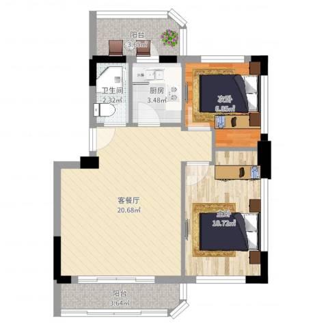 新城雅居2室2厅1卫1厨64.00㎡户型图
