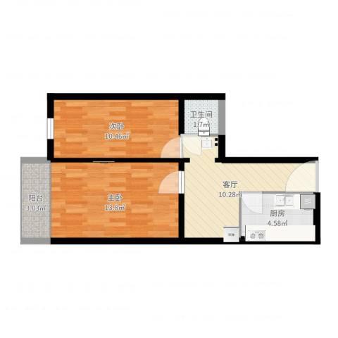 安华西里2室1厅1卫1厨55.00㎡户型图