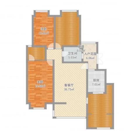 天地源曲江华府2室2厅1卫1厨157.00㎡户型图