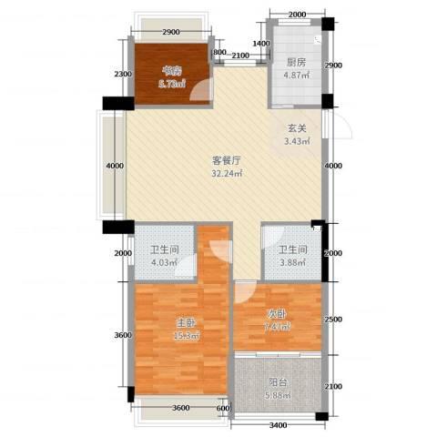 龙都・茗园3室2厅2卫1厨103.00㎡户型图
