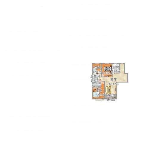 锦城丽景3室1厅2卫1厨128.00㎡户型图
