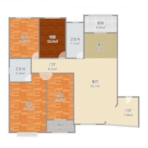 亚华桂竹花园4室1厅2卫1厨205.00㎡户型图