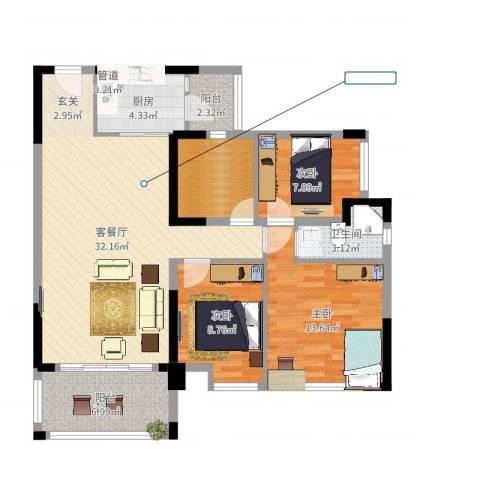新怡・美丽家园3室2厅1卫1厨105.00㎡户型图