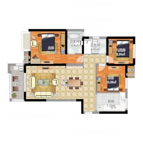 中海世纪公馆3室1厅4卫1厨120.00㎡户型图
