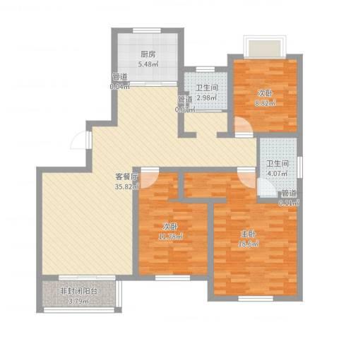 山东东营锦绣龙轩3室2厅2卫1厨114.00㎡户型图