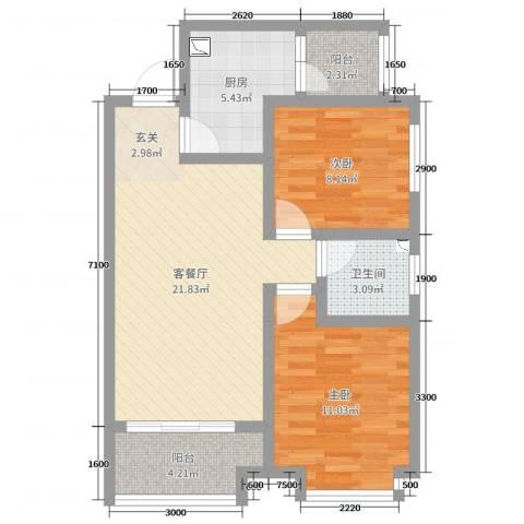 佳龙・大沃城2室2厅1卫1厨77.00㎡户型图