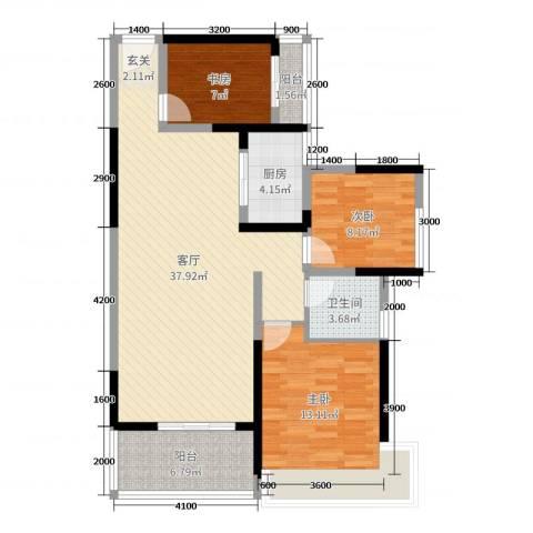 天峦湖3室1厅1卫1厨86.00㎡户型图