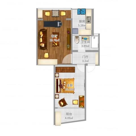 玉华苑551室1厅1卫1厨61.00㎡户型图