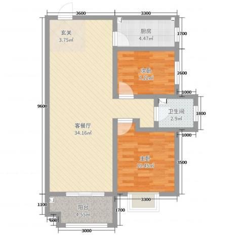佳龙・大沃城2室2厅1卫1厨87.00㎡户型图